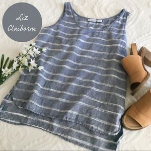 Liz Claiborne Lightweight Blue & White Stripe Tank